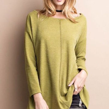 Oversized boxy long sleeve textured knit tunic top