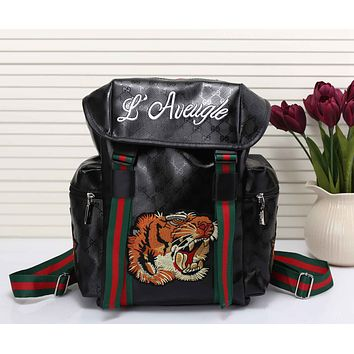 Gucci Women Men Tiger Embroidery Leather Shoulder Bag Travel Bag Backpack