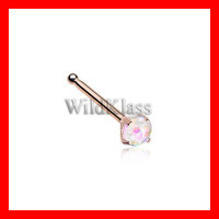 Rose Gold Sparkle Prong Set Nose Stud Ring 316L Surgical Steel