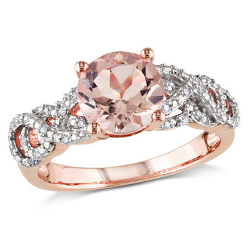8.0mm Morganite and 1/10 CT. T.W. Diamond Ring in Rose Rhodium Plated Sterling Silver