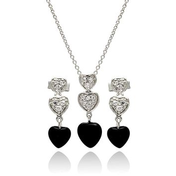 .925 Sterling Silver Rhodium Plated Dangling Heart Cubic Zirconia Black Onyx Stud Earring & Necklace Set 18 Inch