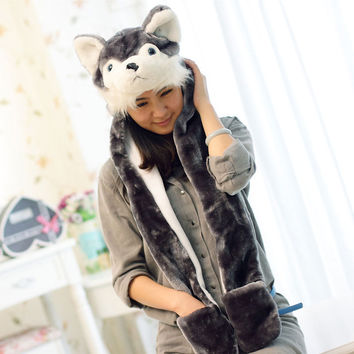Animal Design  Woman Russian Outdoor Fur Bomber Hats For Women New Knitted Ski Hat Ear Protection Winter Hats Cap Caps Earflap