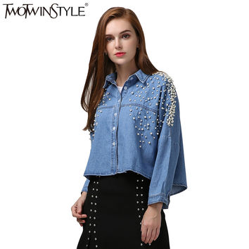 TWOTWINSTYLE 2017 Spring Women Pearl Denim Shirt Blouse Long Sleeves Jeans Crop Tops Big Sizes Casual Clothes Korean Fashion