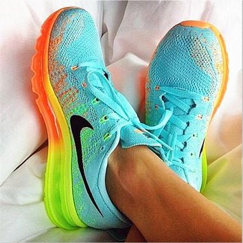 """NIKE"" Trending Fashion Casual Sports Shoes Gradient knit Mint green(Orange yellow sol"