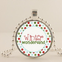"Winter Wonderland, 1"" glass and metal Pendant necklace Jewelry."