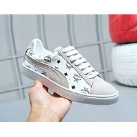 MCM X PUMA Suede New Popular Women Casual Low Top Flat Sport Running Shoes Sneakers White/Grey I-A-FJGJXMY
