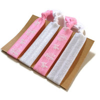 Elastic Hair Ties Pink and White Ballerina Yoga Hair Bands