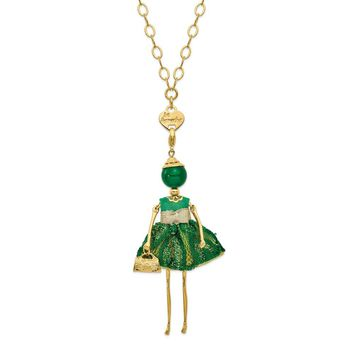 Le Amiche Jade Green Yellow Lace Doll Charm