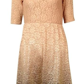 Maison Jules Women's Metallic Ombre Lace A-Line Dress