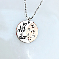 Hand Stamped Jewelry I Love You To The Moon And Back Personalized Necklace - Hand Stamped Mixed Metal Necklace
