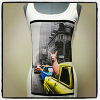 Llama drama. Little miss llama goes for a ride. Print on women's white 100% cotton tank top by Privation Printing.