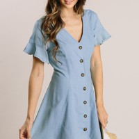 Amara Chambray Button Mini Dress