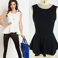 Womens open back Pinup Summer Cocktail Fitted Pleated Peplum T-shirt Top Blouse