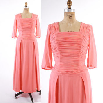 Vintage 60s DRESS / 1960s Coral Salmon Pink Silk Chiffon Draping Bustle Evening Gown Party Dress S