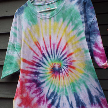 2XLT Tie Dye T-Shirt in Rainbow Colors, 2XL Tall Tiedye Shirt, Mens Big and Tall, XXL Tie Dye, Hippie Clothing, Tall sizes, Big mens