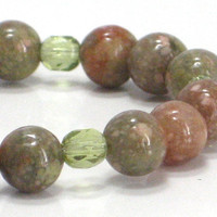 Autumn Bracelet Green Orange Brown Peridot Harvest  Fall by CCARIA