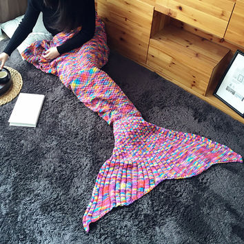 Winter Rainbow Knit Blanket [9688308175]