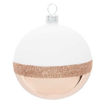 COPPER glass Christmas bauble, white, 7 cm | Maisons du Monde