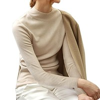 Women's Turtleneck Cotton Knitted Long Sleeve Tunic Sweatshirt Tops Sweater Jumper Elastic