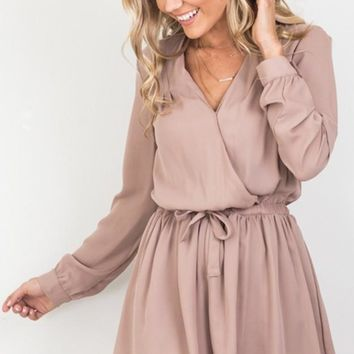 Apricot Wrap V-Neck Dress
