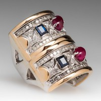 Ladies Ruby, Sapphire & Diamond 14K Gold Wide Band Ring