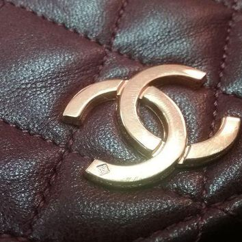 GOW Chanel Dark Red Leather Vintage Used Bag Purse