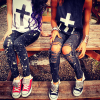 Splattered Skinnys by UrbanEclectics on Etsy