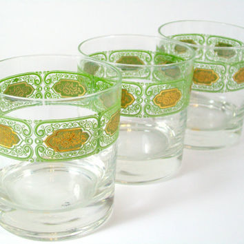 Green Gold Glassware Set Culver Drinking Glasses Old Fashioned Tumbler Vintage
