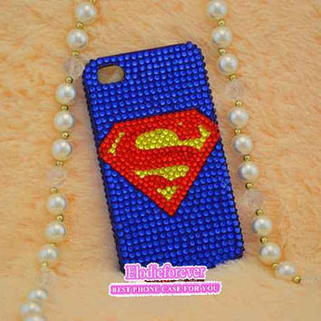 Superman iPhone 4 case,Superman iPhone 5 Case,Bling Bling Full Diamond iphone Case, Cool iPhone case,Rhinestone iPhone 4S case,C012