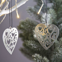 Carved Silver Heart Decoration