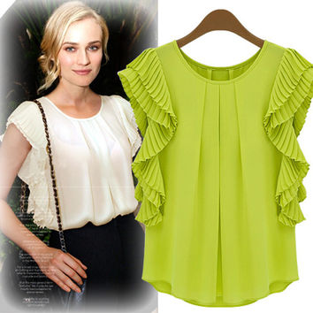 Pleat Ruffled Sleeve Chiffon Blouse