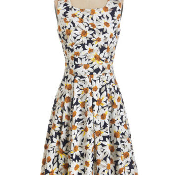 ModCloth Vintage Inspired Long Sleeveless A-line Soiree of Sunshine Dress