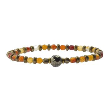 "Carnelian and Pyrite Fine Faceted ""Stability and Confidence"" Bracelet"