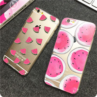 Newest Hot Sale fashion Watermelon Image Logo Light TPU Phone Back Cover Phone Case For Iphone 6 4.7""