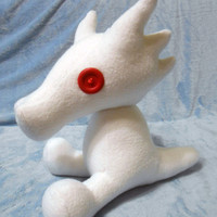 Homestuck inspired white albino Scalemate dragon plush (30 cm high) made of fleece