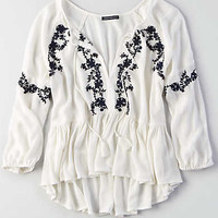 AEO Embroidered Peplum Shirt, Cream