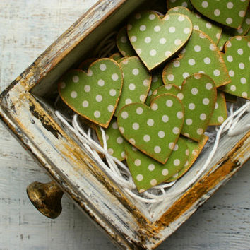 Wedding favors wooden heart magnets guest favors bridal shower baby shower woodland mossy fern sap green white polka dot minimalist
