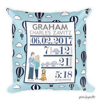 Hot Air Balloon Baby Announcement Pillow