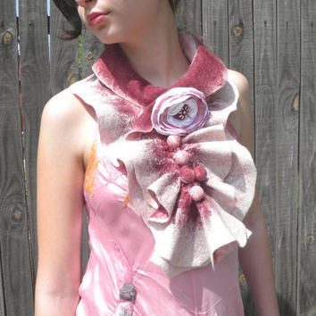 Nuno felted scarf /ripe cherry color, burgundy white / gifts ideas for women/  Ready To Ship