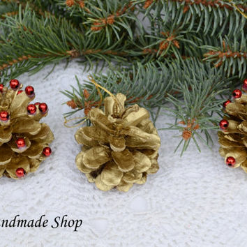 Christmas Ornaments, Christmas Decorations, Rustic Pine Cone Ornaments, Golden Pine Cones Ornament SET OF 6