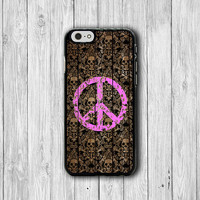Hallow Skull And Sweet Peace iPhone 6 Cover, Art Pink  iPhone 6 Plus, iPhone 5 / 5S iPhone 5C Cases iPhone 4/4S Accessory Wallet Case Gift