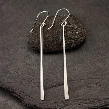 Long Sterling Silver Earrings Modern Bar Lo
