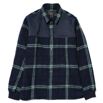Wool Flannel x Polyester Ribbed Cuff Shirt Navy