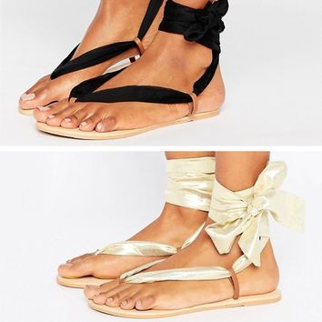 ASOS FREAK Leather Two Pack Tie Leg Flat Sandals at asos.com