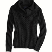 AE COWL NECK CABLE SWEATER