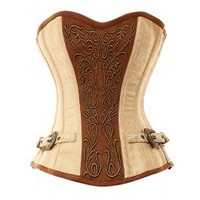 VG-107 Ivory Brocade Pattern with Bronze Panel and Gold Detailing Corset