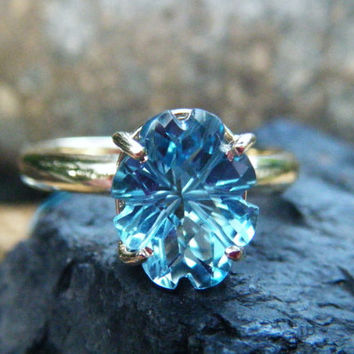 Fantasy cut topaz engagement ring, alternative engagement, turquoise aqua blue engagement, size 6 7 8 9 10, conflict free gem, recycled gold