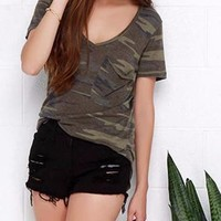 Ladies Green Army Camo Pocket T-shirt Top
