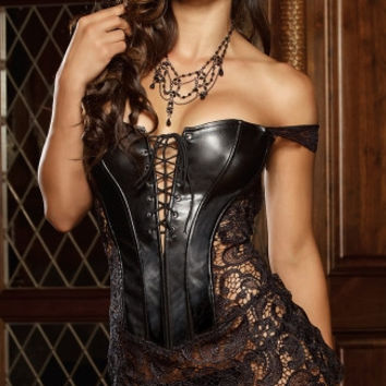 Faux Leather and Venice Lace Corset