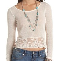 Lace Trim Long Sleeve Crop Top by Charlotte Russe